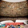 Wall Hanging Natural Stone Brick Wood Print Tapestry - BROWN W59 INCH * L51 INCH