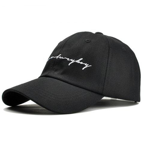 Unique Letter Sentences Embroidery Snapback Hat - BLACK