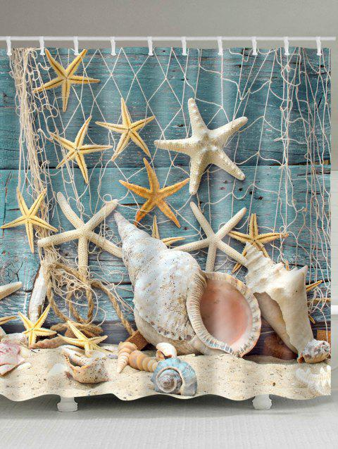 Waterproof Starfish and Shell Print Shower Curtain - COLORMIX W59 INCH * L71 INCH