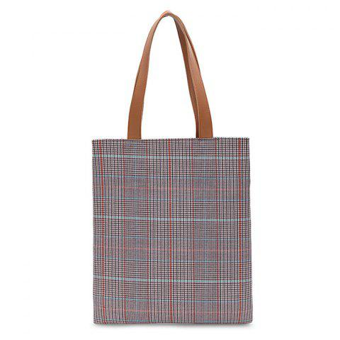 Color Blocking Checked Shoulder Bag - CHECKED