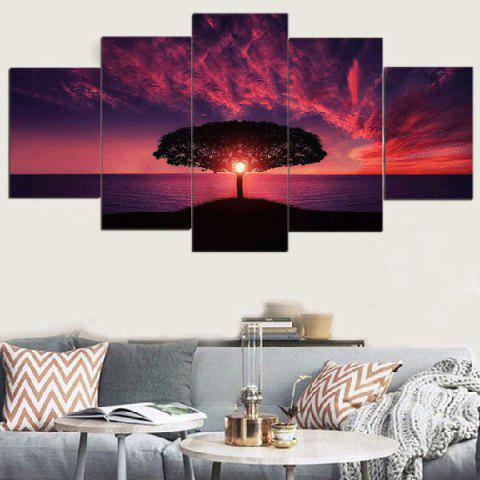 Sunset Glow Seascape Print Unframed Split Canvas Paintings - COLORFUL 1PC:12*31,2PCS:12*16,2PCS:12*24 INCH( NO FRAME )