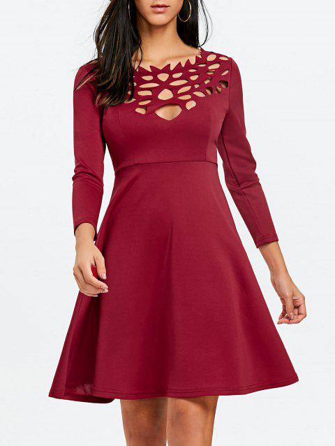 Hollow Out Mini Fit and Flare Dress - WINE RED 2XL