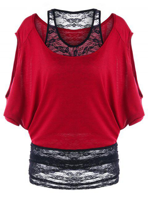 Two Tone Cold Shoulder Tunic T-shirt - WINE RED XL