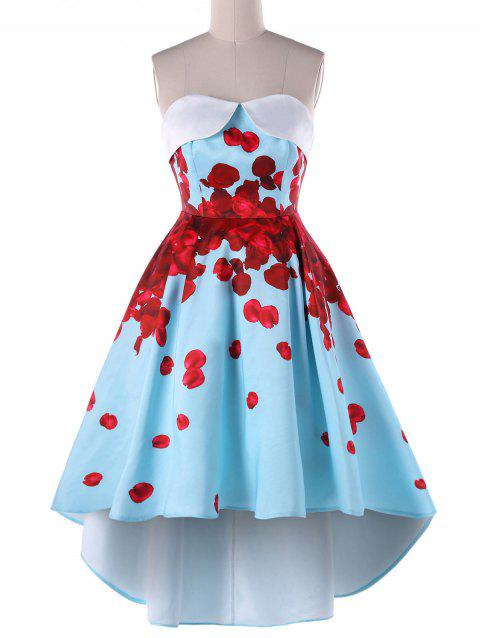 Foldover Strapless Floral High Low Party Dress - BLUE L