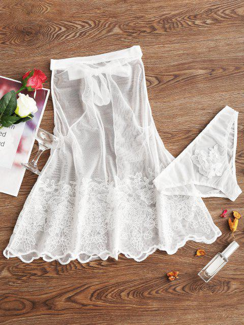 Mesh Sheer Backless Embroidery Babydoll - WHITE L