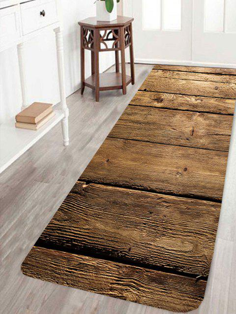 Wood Flooring Pattern Indoor Outdoor Floor Area Rug - DEEP BROWN W24 INCH * L71 INCH