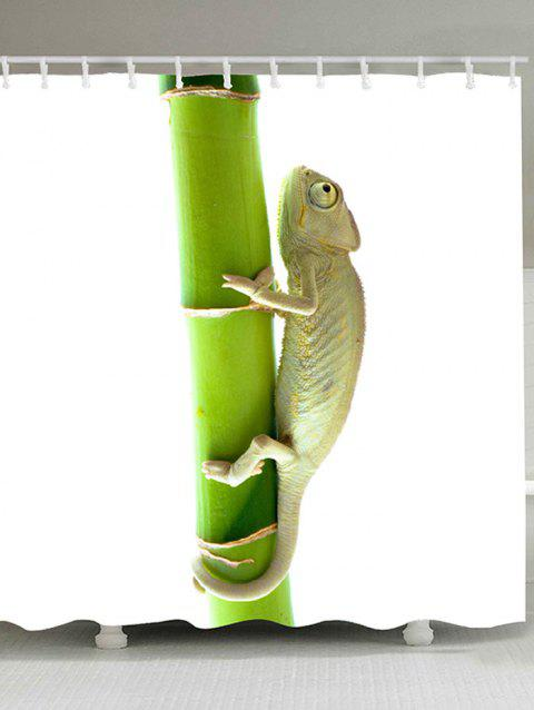 Chameleon Climbing the Tree Printed Bath Curtain - GREEN W71 INCH * L71 INCH