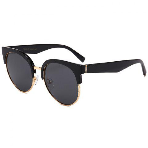 Unique Semi-frame Round Cat Eye Sunglasses - DOUBLE BLACK