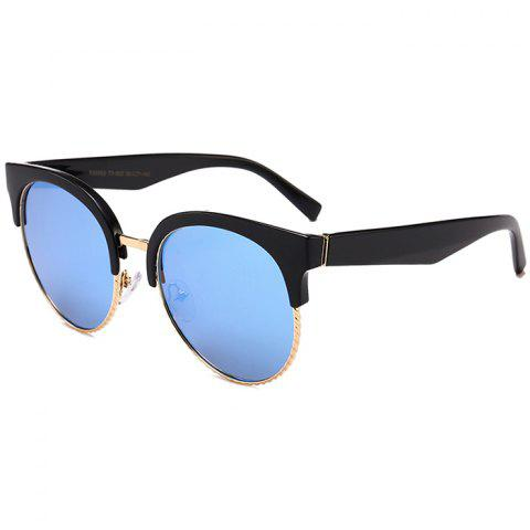 Unique Semi-frame Round Cat Eye Sunglasses - BLACK/BLUE