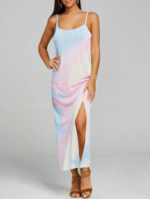 Spaghetti Strap Print Slit Maxi Dress - COLORMIX S