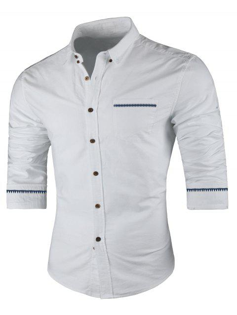 Long Sleeved Button Down Casual Shirt - WHITE L