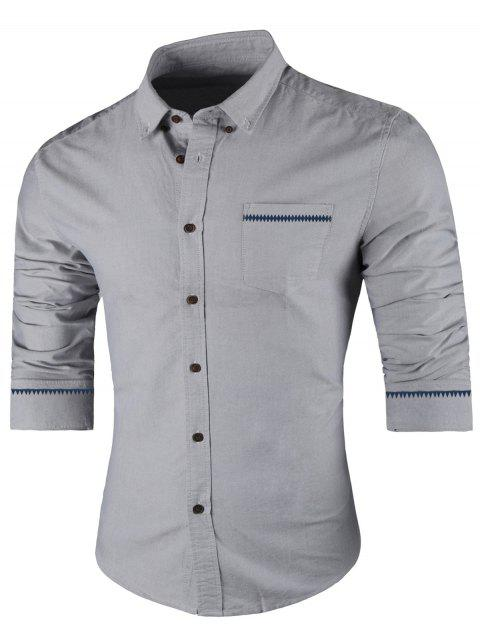 Long Sleeved Button Down Casual Shirt - GRAY L