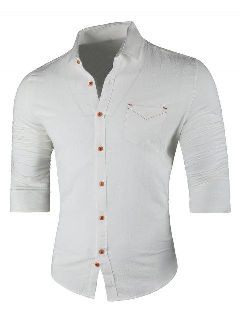 Chest Pocket Turn Down Collar Casual Shirt - WHITE 3XL