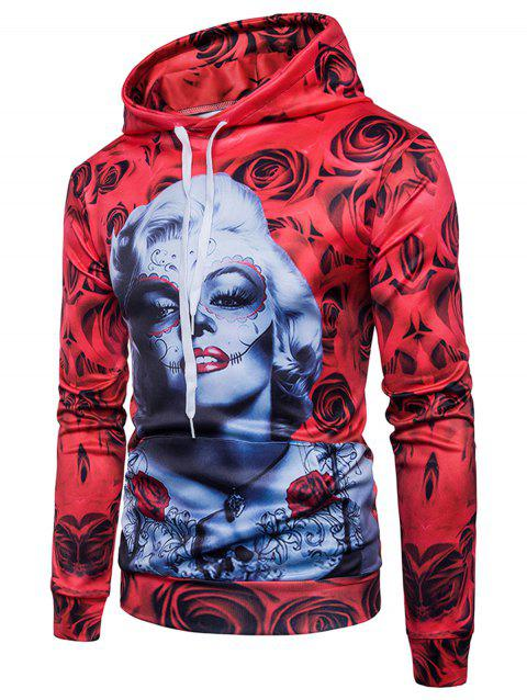 Rose Figure Print Pullover Hoodie - RED 2XL