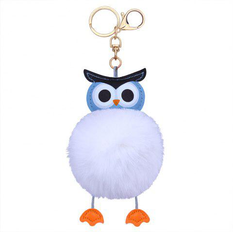 Faux Leather Fuzzy Ball Owl Keychain - WHITE