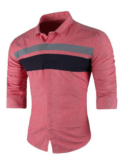 Wide Stripe Turndown Collar Long Sleeve Shirt - RED 3XL