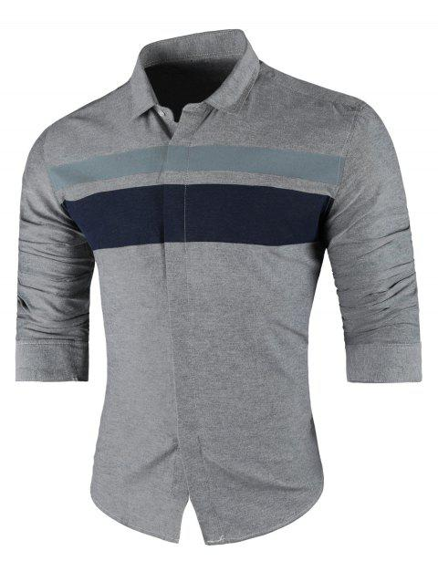 Wide Stripe Turndown Collar Long Sleeve Shirt - GRAY XL