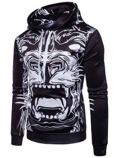 Monster Animal Print Pullover Hoodie - BLACK XL