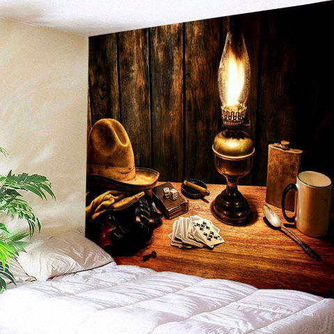 Cowboy Hat Lamp Pattern Tapestry - BROWN W91 INCH * L71 INCH