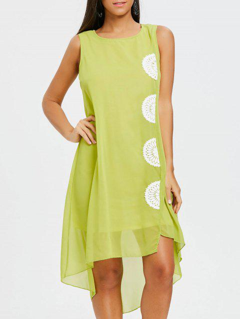 Crochet Trim High Low Chiffon Dress - GREEN L