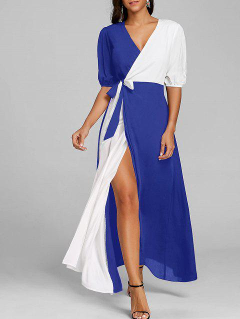 Color Block Puff Sleeve High Slit Maxi Dress - BLUE XL