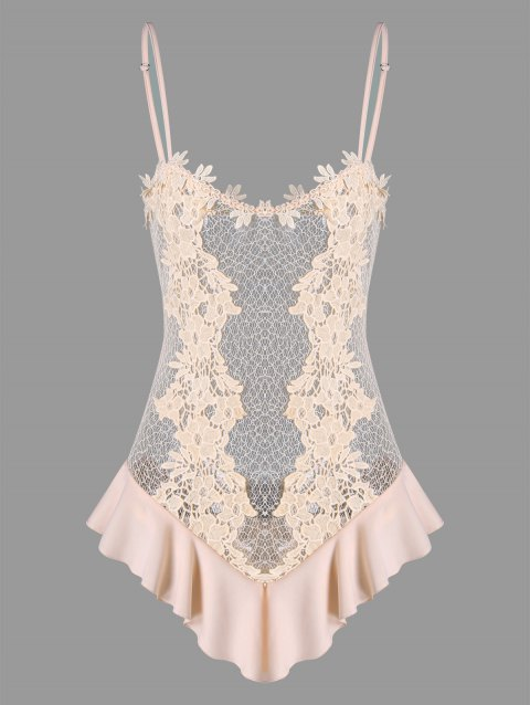 Valentine See Through Crochet Lace Lingerie Teddy - PINK S