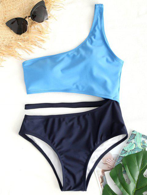 Two Tone Cut Out One Shoulder Swimsuit - BLUE L