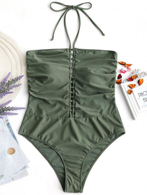 Lattice Front Halter Plus Size Swimsuit - ARMY GREEN XL