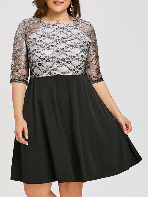Lace Overlay Plus Size Fit and Flare Dress - BLACK XL