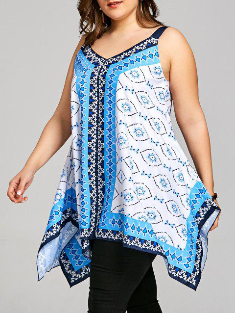 fda0d2b3c5c 41% OFF  2019 Plus Size Graphic Handkerchief Hem Tank Top In BLUE XL ...