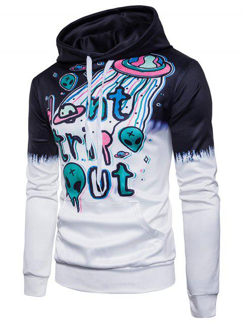 UFO Skull Planet Scrawl Pullover Hoodie - COLORMIX 2XL