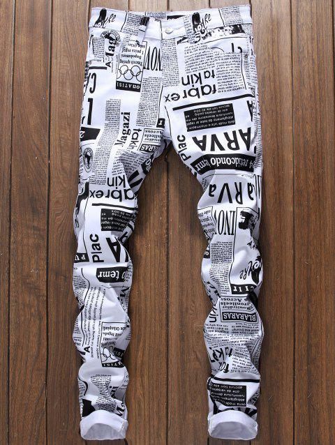 Newspapers Pattern Narrow Feet Jeans - WHITE 36