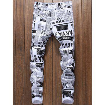 Newspapers Print Narrow Feet Skinny Jeans - WHITE WHITE