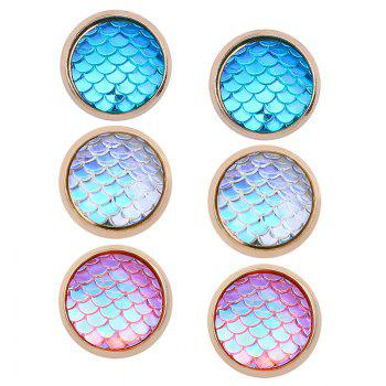 Colorful Scale Embellished Alloy Round Stud Earrings Set - COLORFUL COLORFUL