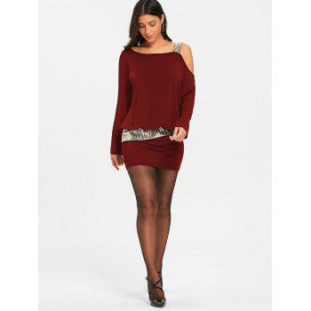Sequins Long Sleeve Cold Shoulder Blouson Dress - BURGUNDY 2XL