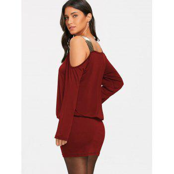 Sequins Long Sleeve Cold Shoulder Blouson Dress - BURGUNDY XL