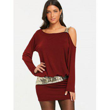 Sequins Long Sleeve Cold Shoulder Blouson Dress - BURGUNDY BURGUNDY