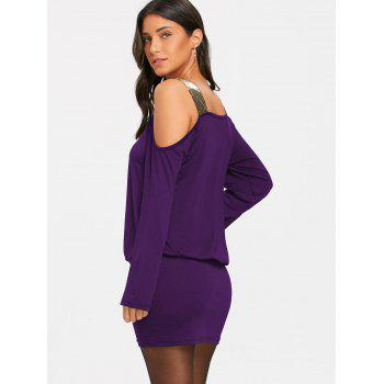 Sequins Long Sleeve Cold Shoulder Blouson Dress - PURPLE XL