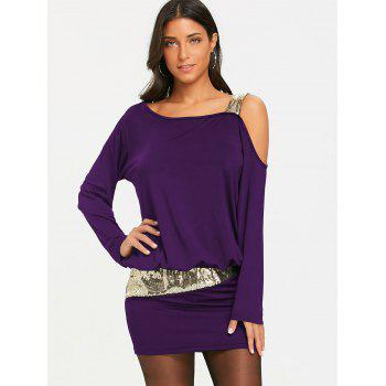 Sequins Long Sleeve Cold Shoulder Blouson Dress - PURPLE S