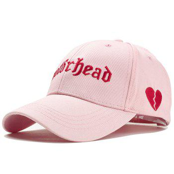 Unique Broken Heart Embroidery Decorated Baseball Hat - PINK PINK