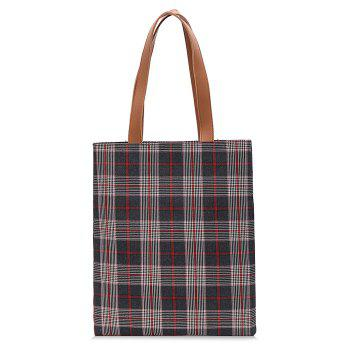 Color Blocking Checked Shoulder Bag - RED RED