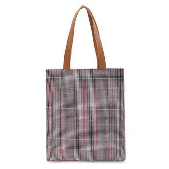 Color Blocking Checked Shoulder Bag - CHECKED CHECKED