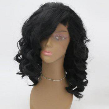 Medium Side Parting Fluffy Wavy Lace Front Synthetic Wig - BLACK BLACK