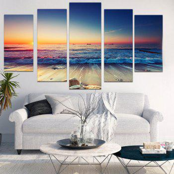 Sunset Seascape Patterned Canvas Wall Art Paintings - COLORFUL COLORFUL