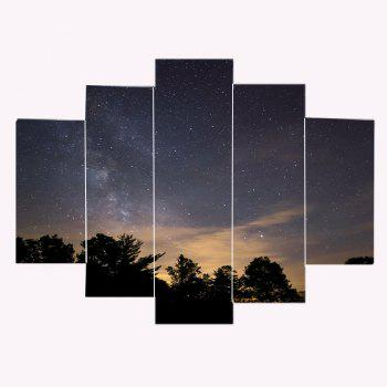 Starry Night Print Canvas Wall Art Paintings - COLORMIX 1PC:12*31,2PCS:12*16,2PCS:12*24 INCH( NO FRAME )