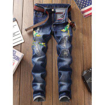 Zip Fly Phoenix Embroidery Destroyed Jeans - BLUE BLUE