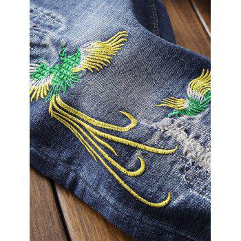 Zip Fly Phoenix Embroidery Destroyed Jeans - BLUE 38