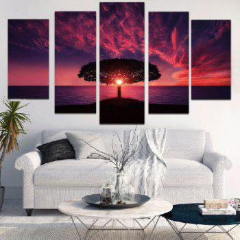 Sunset Glow Seascape Print Unframed Split Canvas Paintings - COLORFUL COLORFUL