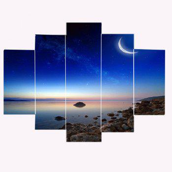 Starry Moonlight Scenery Pattern Canvas Paintings - BLUE BLUE