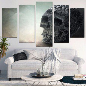 Skull Pattern Split Unframed Decorative Canvas Paintings - GRAY 1PC:12*31,2PCS:12*16,2PCS:12*24 INCH( NO FRAME )